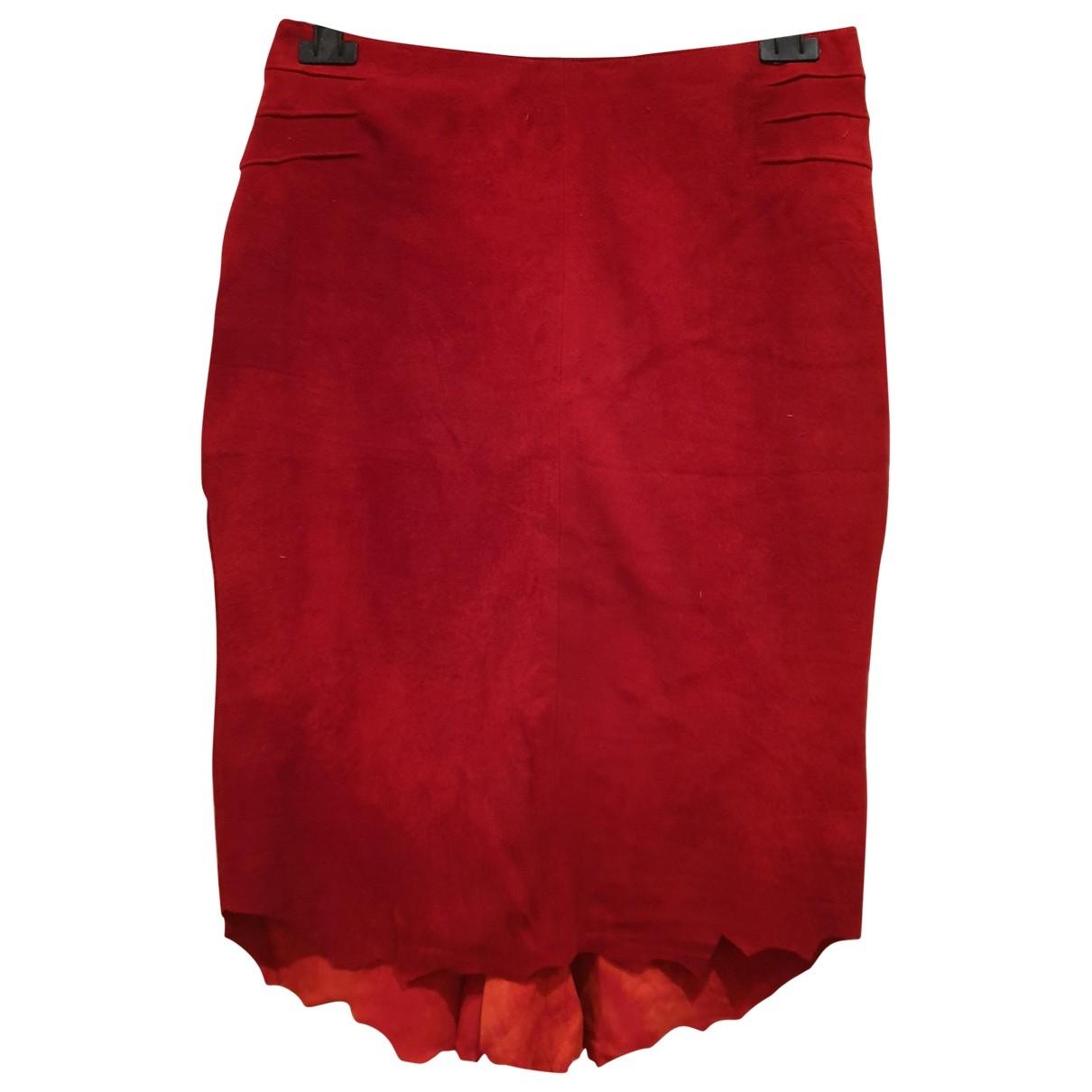 Roberto Cavalli - Jupe   pour femme en suede - rouge
