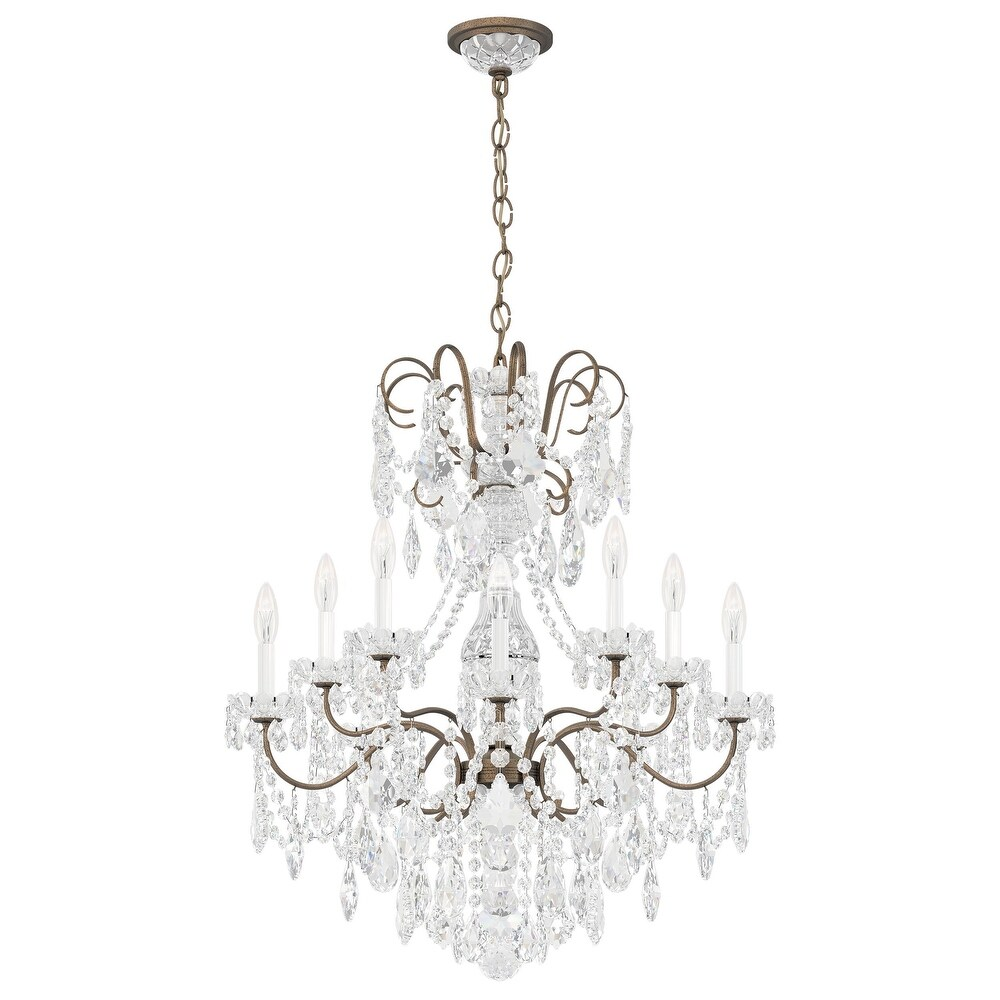 New Orleans 10 Light Chandelier Etruscan Gold  Crystals Swarovski - One Size (One Size - Clear)