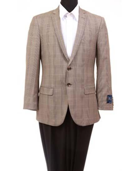 Mens Taupe Wool 2 Button Notch Lapel Slim Fit  Sport Coat Blazer