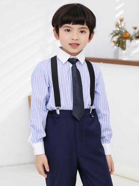 Milanoo Juegos de portador de anillo de algodon de manga larga pantalones camiseta corbata Wedding Boy Trajes 3pcs
