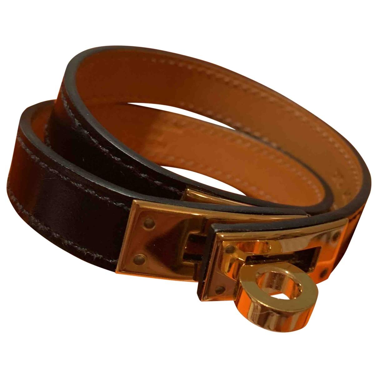 Hermes - Bracelet Kelly Double Tour pour femme en cuir - noir