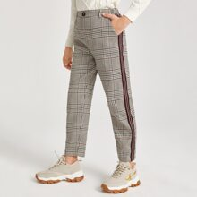 Boys Button Front Plaid Pants