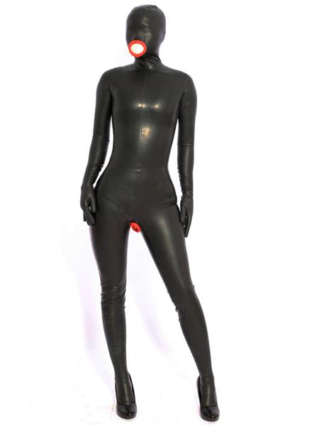 Milanoo Disfraz Halloween Sexy Latex Catsuits Halloween Negro Entero Bodysuit Halloween