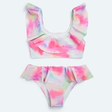 Toddler Girls Tie Dye Ruffle Bikini Swimsuit