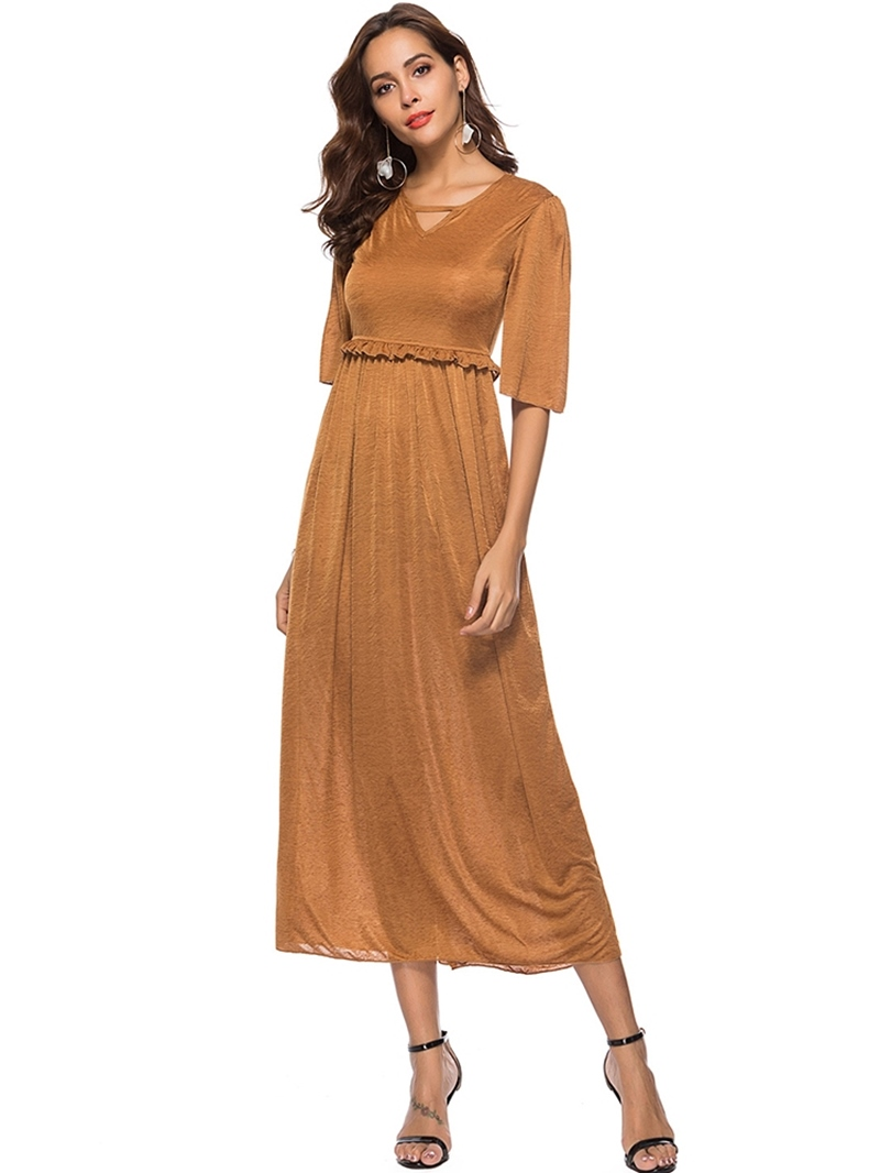 Ericdress V-Neck Half Sleeve Stringy Selvedge Plain Summer Dress