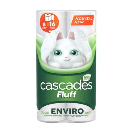 Papier hygiénique Cascades Fluff Environment, 2 épaisseurs, 8 rouleaux, - 1 emballage