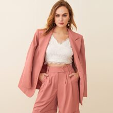 Notched Collar Buttoned Front Blazer