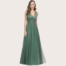 Kleid mit niedriger Rueckseite, Ruesche und Netzstoff