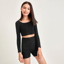 Girls Rib-knit Glitter Top & Biker Shorts Set