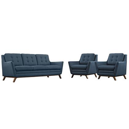 Beguile Collection EEI-2184-AZU-SET 3 PC Living Room Set Sofa and Armchairs with Walnut Stained Beech Wood Legs  Plastic Foot Glides  Density Foam
