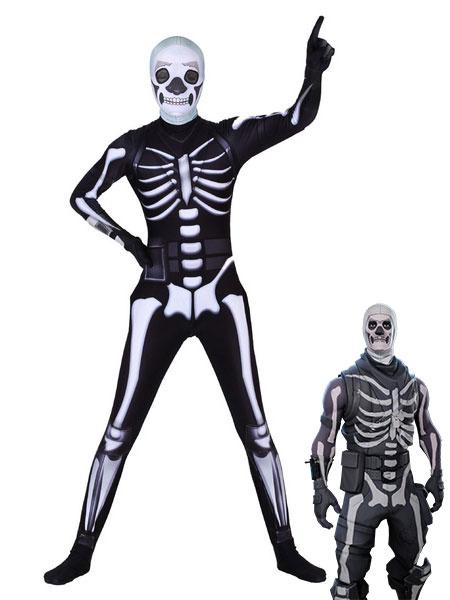 Milanoo Skull Trooper Costume Fortnite Cosplay Leotard Game Cosplay Costumes