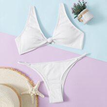 Solid Thong Bikini Swimsuit