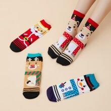 4 pares calcetines con patron de navidad