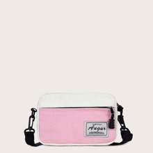 Letter Patch Canvas Crossbody Bag
