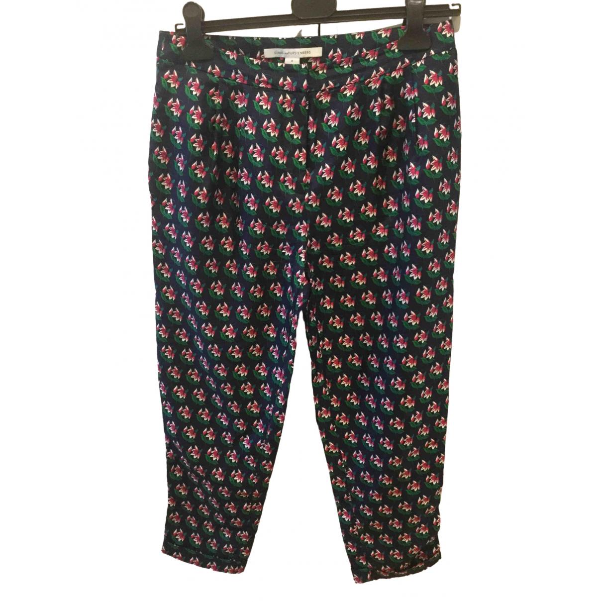 Diane Von Furstenberg \N Multicolour Silk Trousers for Women 4 US