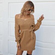 Strick Pullover Kleid mit Zopf Muster und Guertel