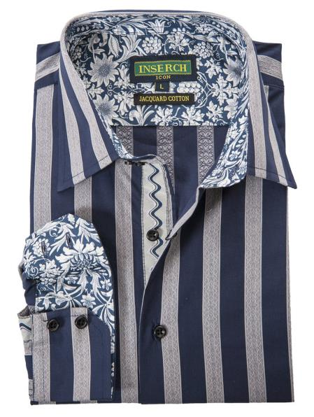 Men's Cotton Jacquard Bold Stripes With Contrast Trimmed Navy Shirt