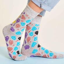 1pair Diamond Pattern Socks
