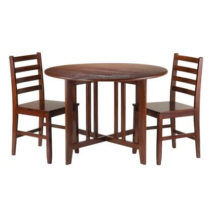 94356 Alamo 3-Pc Round Drop Leaf Table with 2 Hamilton Ladder Back Chairs in Antique Walnut