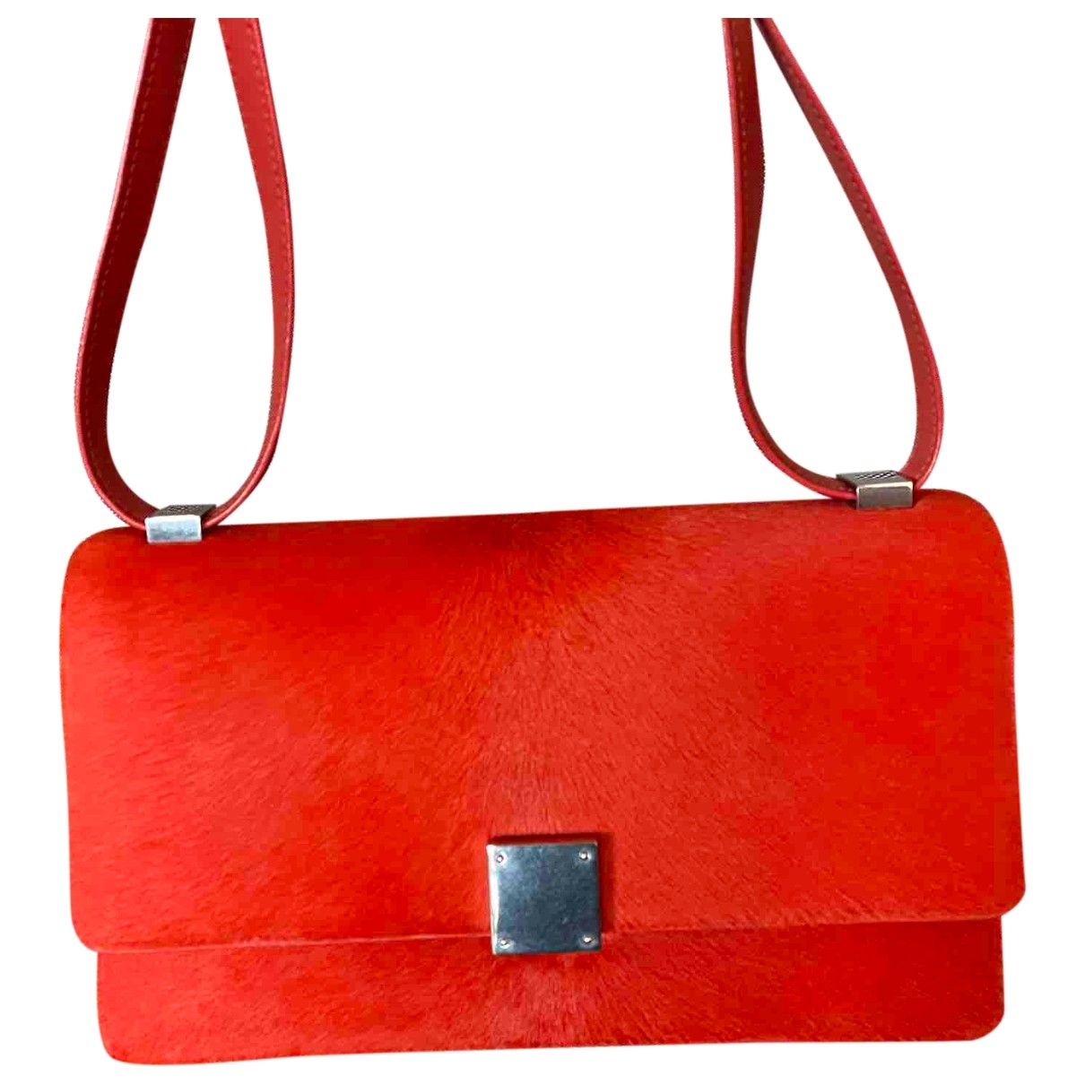 Celine - Sac a main Case flap pour femme en veau facon poulain - rouge