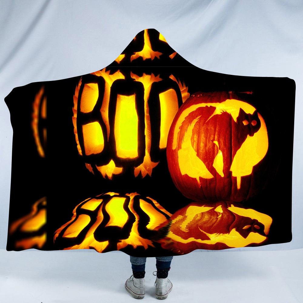 Pumpkin Lantern and Cat Halloween Printing Polyester Hooded Blanket