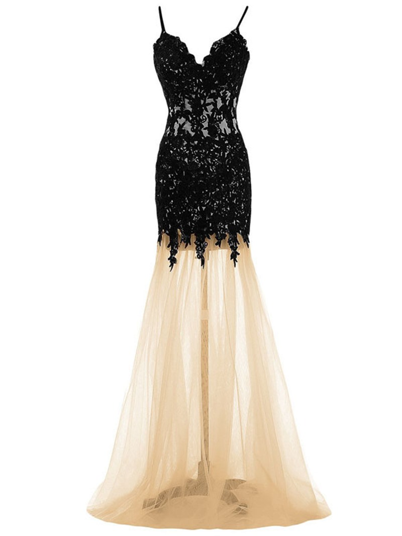 Ericdress A-Line Spaghetti Straps Appliques Brush Train Evening Dress