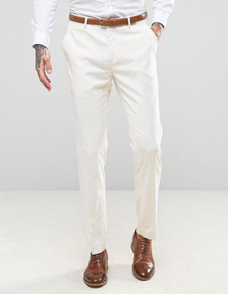 Mens ivory ~ cream Flat Front Pants Slacks