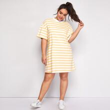 Plus Drop Shoulder Two Tone Striped Tee Dress