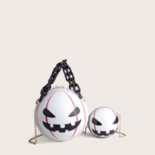 2pcs Halloween Pumpkin Design Satchel Bag & Crossbody Bag