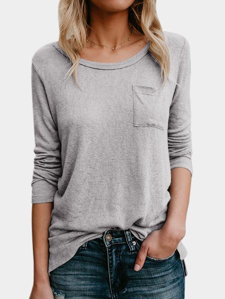 Yoins Grey Crew Neck Long Sleeves Pocket Design T-shirt
