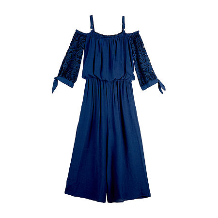 by&by girl Big Girls Long Sleeve Jumpsuit, Large (14) , Blue