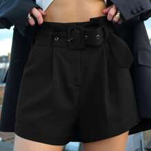 Fold Pleated Buckle Belt Solid Shorts