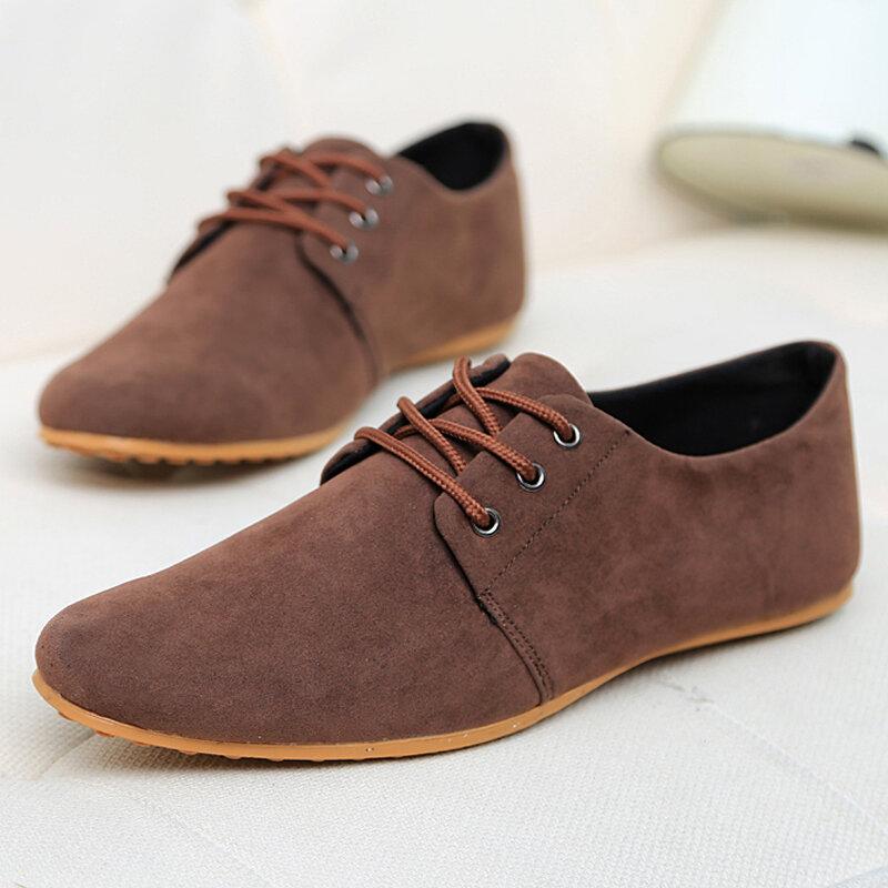 Men Pure Color Suede Breathable Non Slip Casual Shoes