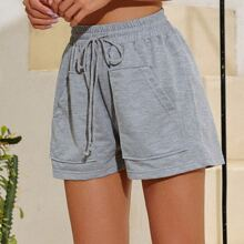 Pocket Detail Drawstring Waist Track Shorts