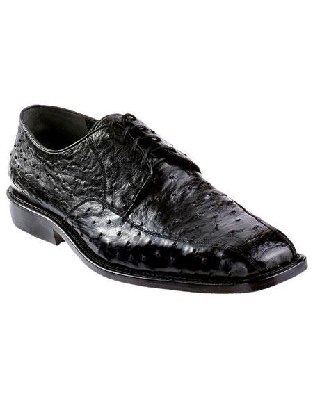 Men's Black Genuine Ostrich Los Altos Oxfords Style Dress Shoes