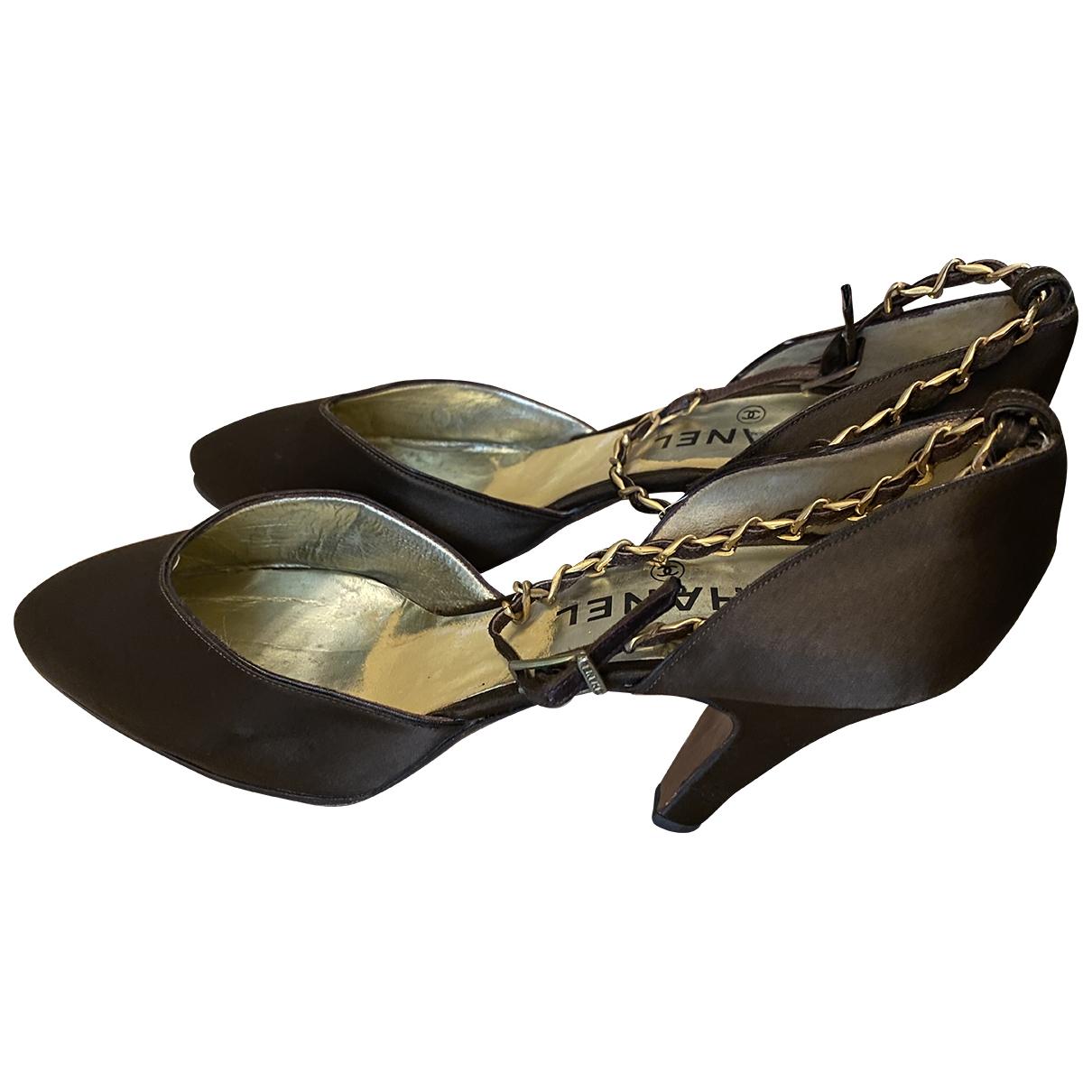 Chanel - Escarpins   pour femme en toile - marron