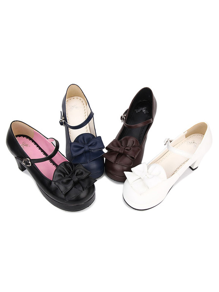 Milanoo Sweet Lolita Pumps Bow Platform PU Negro Lolita Mary Jane Zapatos