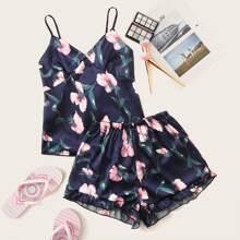 Floral & Leaf Print Satin Cami Pajama Set