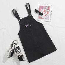 Slogan and Butterfly Embroidered Pocket Front Pinafore Denim Dress