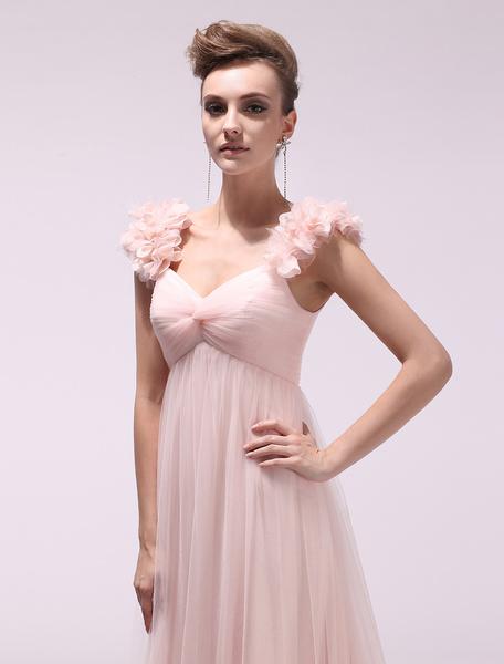 Milanoo Peach Prom Dresses 2020 Long Chiffon 3D Flowers Evening Dress Empire Twisted Floor Length Party Dress With Train Wedding Guest Dress  wedding