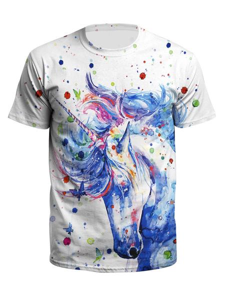 Milanoo Camisetas de hombre Top de manga corta con cuello redondo de secado rapido unicornio impreso en 3D Top en blanco