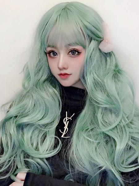 Milanoo Sweet Lolita Wig Long Mint Green Curly Lolita Hair Wigs