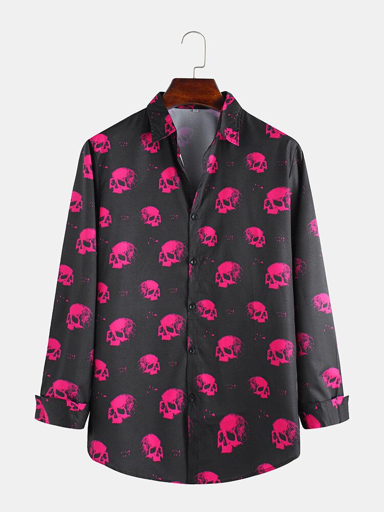 Mens Halloween Scary Skeleton Printed Long Sleeve Shirts