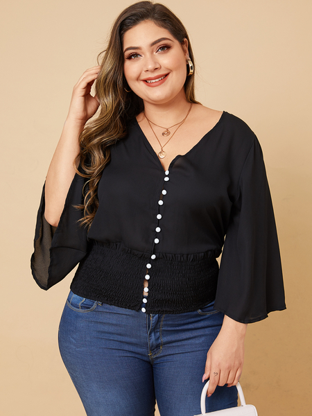Yoins Plus Size Black Shirring V-neck Long Sleeves Blouse