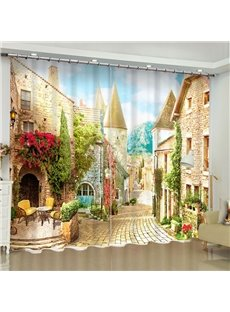 3D European Style Buildings Printed Polyester Custom Living Room Curtain
