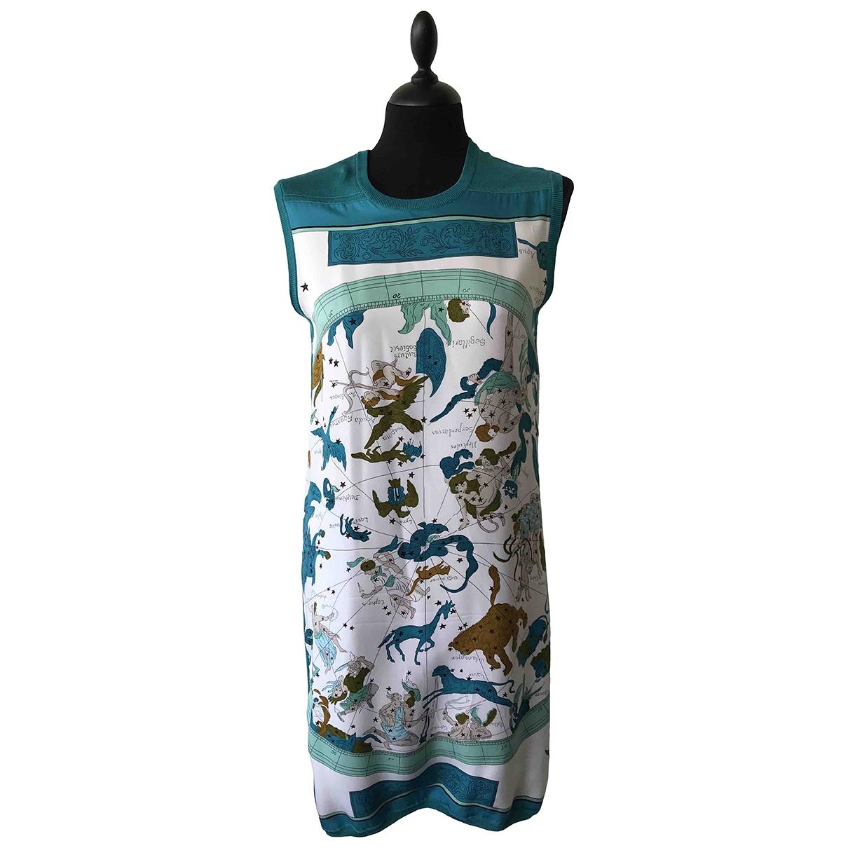 Hermes \N Kleid in  Tuerkis Seide