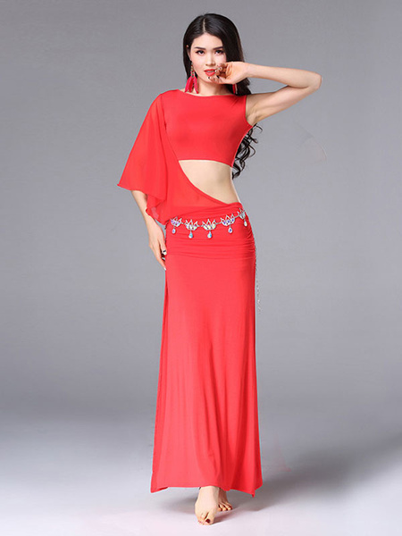 Milanoo Belly Dance Costume Dresses Women Lilac Sexy Split Dancing Clothes