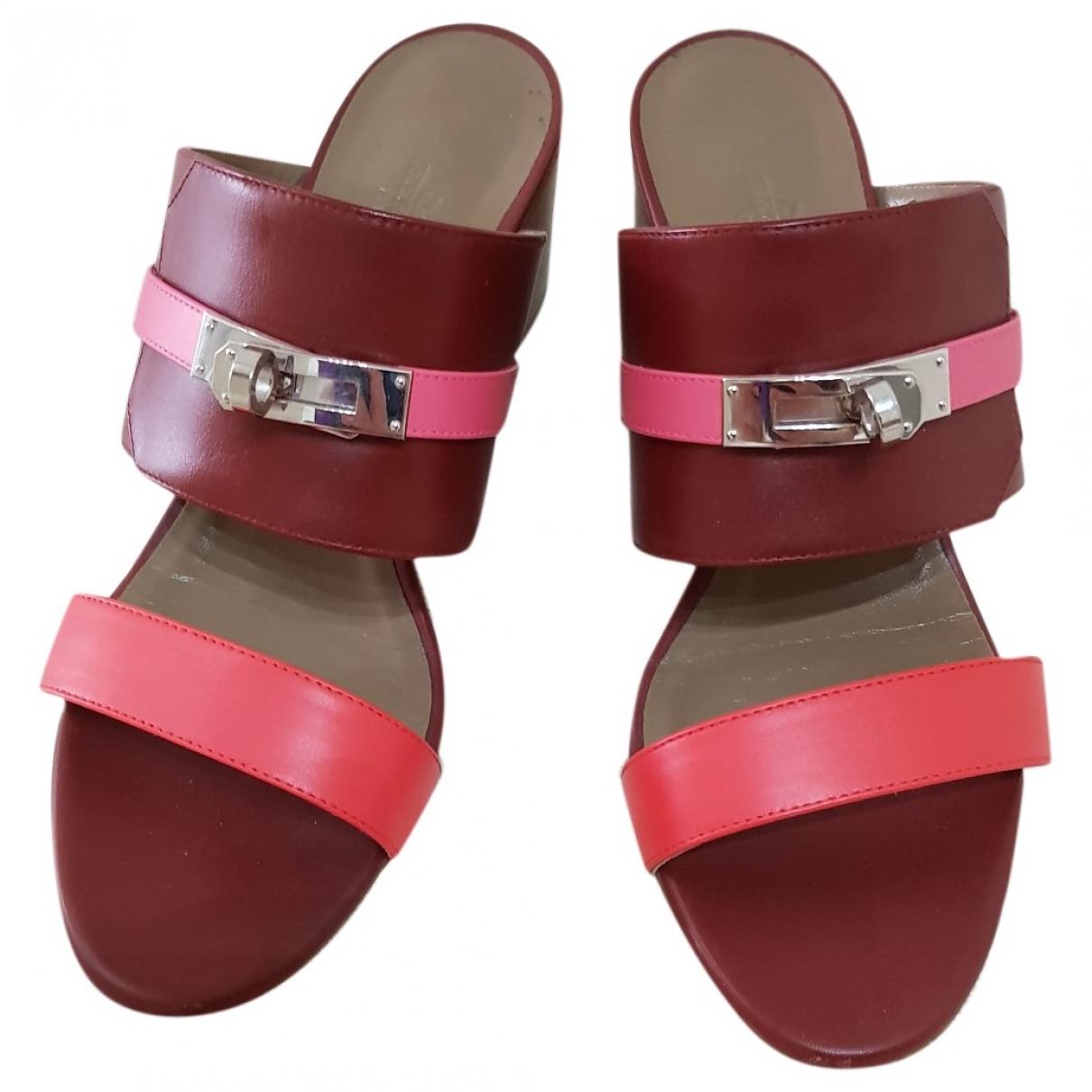 Hermes - Sandales   pour femme en cuir - rose