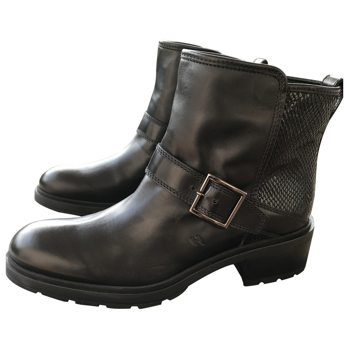Hogan \N Black Leather Ankle boots for Women 40.5 EU