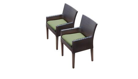 Barbados Collection BARBADOS-TKC097b-DC-C-CILANTRO 2 Dining Chairs With Arms - Wheat and Cilantro